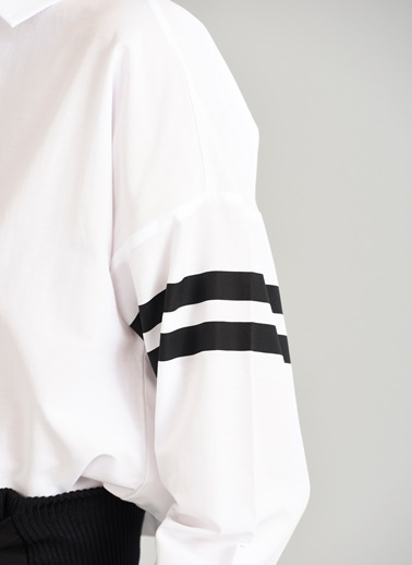 Kolları Çizgili Gömlek-People By Fabrika